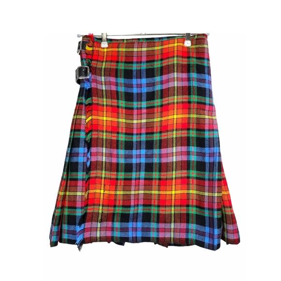 VTG Scottish Kilt Multicolour Plaid Leather Straps